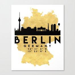 BERLIN GERMANY SILHOUETTE SKYLINE MAP ART Canvas Print