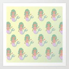 tanned mermaids pattern Art Print