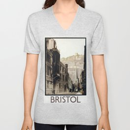 Bristol Vintage Travel Poster Unisex V-Neck