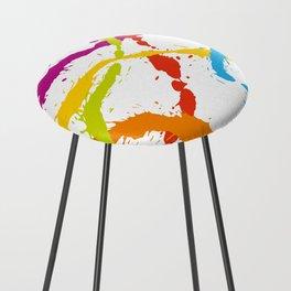 Splattered Rainbow [WHITE] Counter Stool