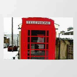 Red Phone Box in the snow - Saltaire Rug