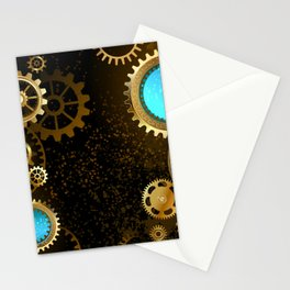 Steampunk Background with Gears Stationery Cards