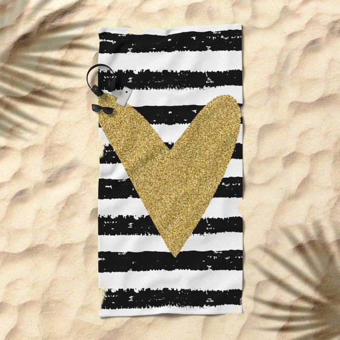 Heart on stripes Beach Towel