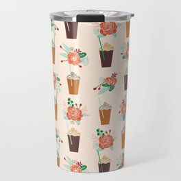 Coffee floral bouquet coffee lovers java bean cute pattern print for kitchen Travel Mug