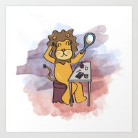 LION PLAYS DRESS UP Art Print
