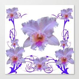 WHITE CATTLEYA ORCHIDS & PURPLE-PINK NOUVEAU ART Canvas Print