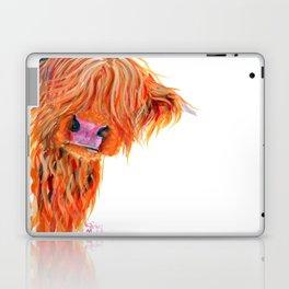 Scottish Hairy Highland Cow 'Peekaboo' by Shirley MacArthur Laptop & iPad Skin