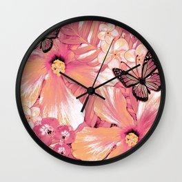 Coral Pink Hibiscus Wall Clock