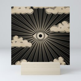 Radiant eye minimal sky with clouds - black and gold Mini Art Print