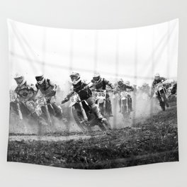 Motocross black white Wall Tapestry