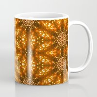 glee Mugs featuring Christmas Goes Gold by Louisa Catharine Art And Patterns