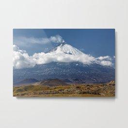 Klyuchevskoy Volcano or Klyuchevskaya Sopka on Kamchatka - highest active volcano of Eurasia Metal Print