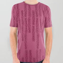Eye of the Magpie tribal style pattern - raspberry red All Over Graphic Tee