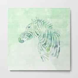 Zebra Watercolor Pale Green Metal Print