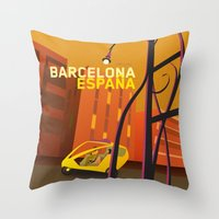 barcelona Throw Pillows featuring Barcelona by Shirong Gao
