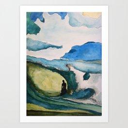 Watercolor Surfer Art Print