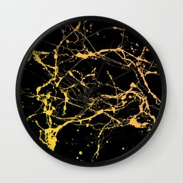 24-Karat Polished Gold Streaks on Black Marble Wall Clock