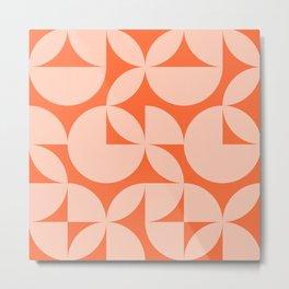 Abstract Orange Circles Modern Mid Century Geometric Pattern Scandinavian Rustic Interior Metal Print