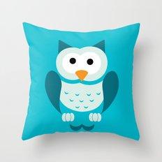 Minimal Owl Blue Throw Pillow