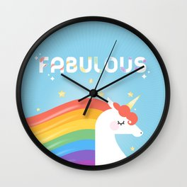 Fabulous Sparkling Rainbow Unicorn Wall Clock