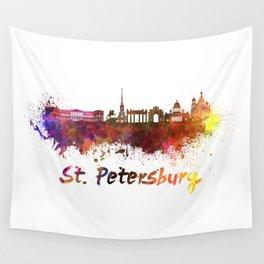 Saint Petersburg skyline in watercolor Wall Tapestry