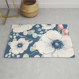 Summer Flowers Blue #society6 #buyart Rug