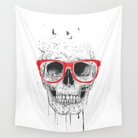 glasses Wall Tapestries featuring Skull with red glasses by Balazs Solti