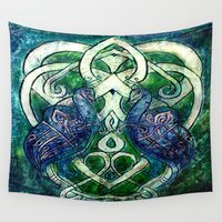 celtic Wall Tapestries featuring Celtic Peacocks by D. Renee Wilson