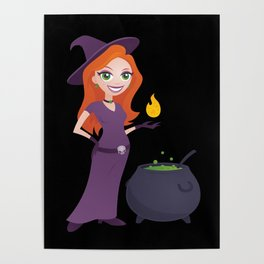 Pretty Witch with Cauldron Poster