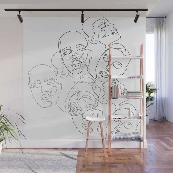 Lined Face Sketches Wall Mural