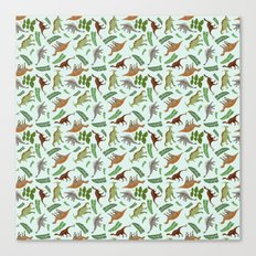Dinosaurs & Leaves Canvas Print