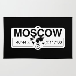 MoscowIdaho Map GPS Coordinates Artwork with Compass Rug