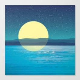 Night at the sea Canvas Print