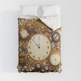 Steampunk Vintage Style Clocks and Gears Comforters