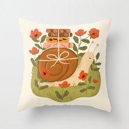 Snail Carrying Books Throw Pillow