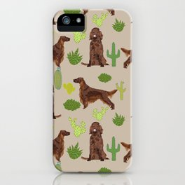 Irish Setter cactus southwest desert dog breed cute gift for dog lover pupper portrait pattern gifts iPhone Case