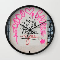 rileigh smirl Wall Clocks featuring I Will Miss You-NYC by Rileigh Smirl