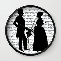 pride and prejudice Wall Clocks featuring Pride and Prejudice design - White by Evie Seo