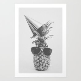 Party Pineapple in Black and White Art Print