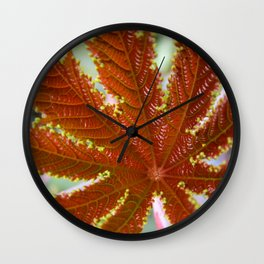 Red Leaf Wall Clock