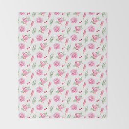 Tropical Chill Rose Pattern Throw Blanket