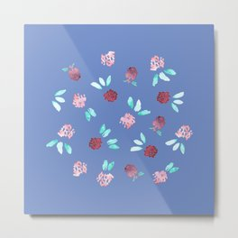 Clover Flowers on Periwinkle Blue Metal Print