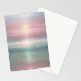 """Pink sky over blue sea Sunset"" Stationery Cards"