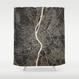 budapest map ink lines Shower Curtain