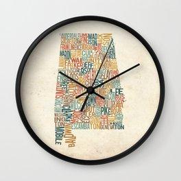 Alabama by County Wall Clock