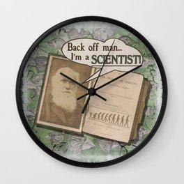 """Charles Darwin: """"Back off man, I'm a SCIENTIST!"""" Wall Clock"""