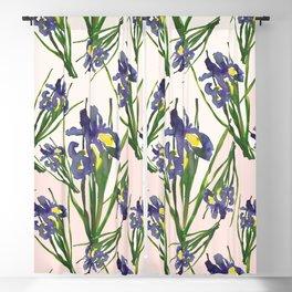 Exotic pinky purple dutch iris flower pattern design Blackout Curtain
