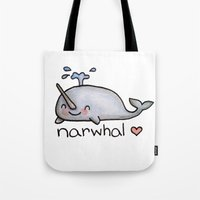 narwhal Tote Bags featuring narwhal  by geeboo