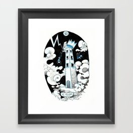 The Tower Skeleton Tarot  Framed Art Print