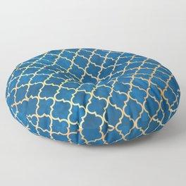 Blue and Gold Quatrefoil Art Deco Pattern Floor Pillow
